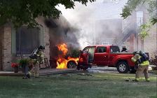Sarnia Fire and Rescue work to extinguish a fire on Vidal St. between London Rd. and Charlotte St. June 15, 2018 (Photo by Sarnia Police Constable John Sottosanti)