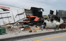 A crash on Hwy. 401 between County Rd. 42 and Queen's Ln. June 22, 2018. (Photo courtesy of the Ontario Provincial Police)
