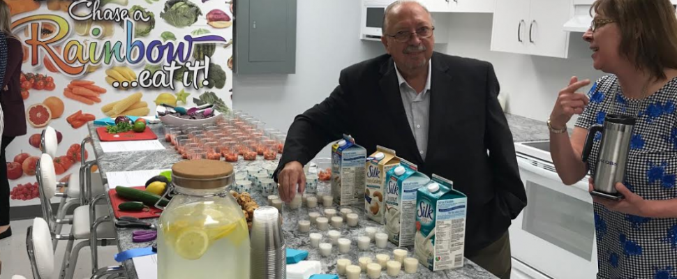 Newly re-elected Sarnia-Lambton MPP Bob Bailey enjoys some samples at the grand opening of the Rapids Family Health Team's community teaching kitchen. June 12, 2018 (Photo by Melanie Irwin)