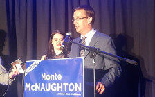 Lambton-Kent-Middlesex PC incumbent Monte McNaughton makes victory speech following re-election. June 7, 2018 (Photo by Garrett Lajoie)