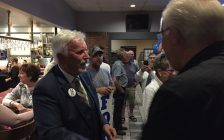 Chatham-Kent-Leamington PC MPP Rick Nicholls greets supporters after winning a seat for a third consecutive election. (Photo by Matt Weverink)