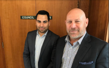 Seasons Retirement Communities Chief Financial Officer Raheem Hirji (left) and Chief Executive Officer Mike Lavallée reveal plans for Bayside Mall. June 11, 2018 (Photo by Melanie Irwin)