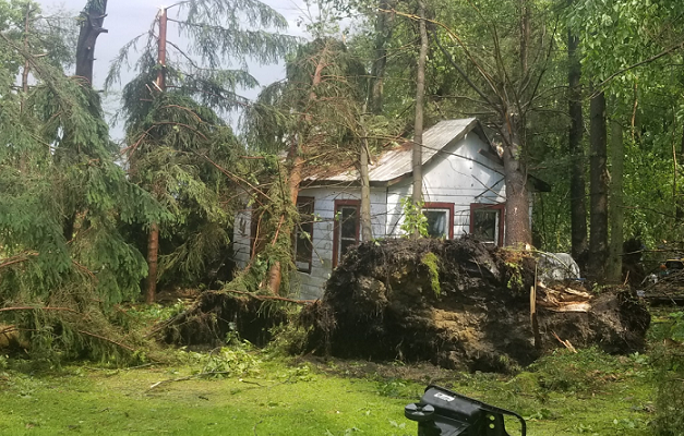 Trees were uprooted, crushing a house when an F1 tornado tore through the Waterford area, June 13, 2018. Photo courtesy of the OPP.