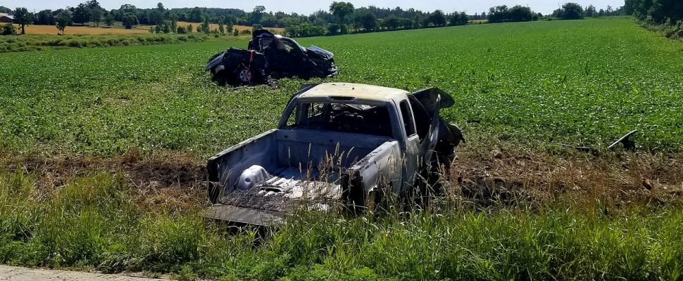 One man is dead and three others were injured in a crash between two pick-up trucks in Mapleton, July 12, 2018. (Photo courtesy of the OPP)