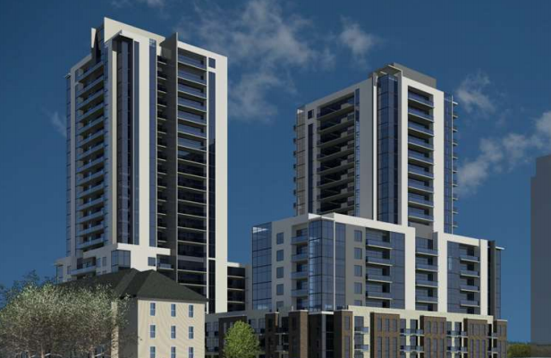 A rendering of the proposed apartment towers at 391 South St. Photo courtesy of the City of London.