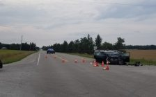 Police respond to a crash on Nairn Rd at McEwen Dr. in Middlesex Centre, July 30, 2018. (Photo courtesy of the OPP)