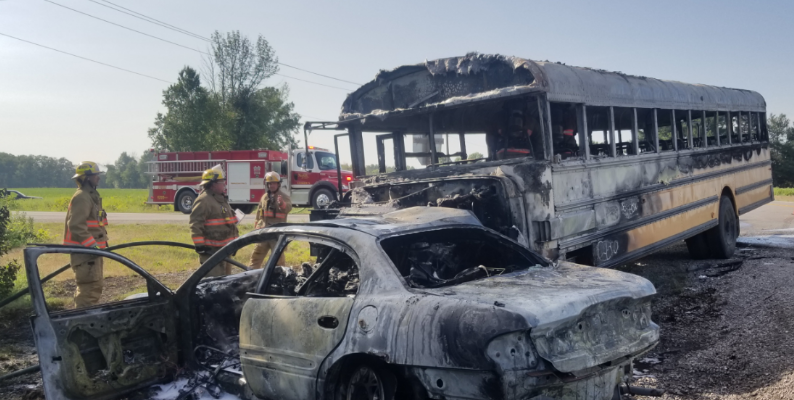 Emergency crews respond to a fatal crash involving a school bus on Windham Rd. W and Nixon Rd. in Simoce, July 13, 2018. (Photo courtesy of the OPP)