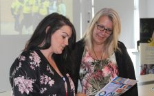Outreach Wellness Program Coordinator Caress Lee Carpenter (left) sharing information about the new grief and bereavement programs at the Chatham-Kent Hospice's Open House. July 18, 2018. (Photo by Sarah Cowan Blackburn News Chatham-Kent).