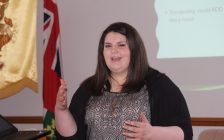 Lauren Darby, local social media expert and owner of Master Key Social, at the Chatham-Kent Small Business Centre's Social Media Education Event for Local Businesses. July 25, 2018. (Photo by Sarah Cowan Blackburn News Chatham-Kent).
