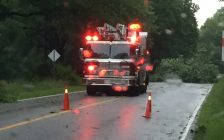 Trees brought down in a thunderstorm block a portion of Blackwell Rd. in Sarnia (Photo by Eve Morgan)