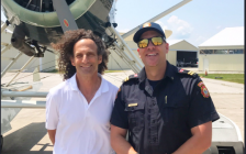American saxophonist Kenny G with Sarnia Fire Public Education Officer Mike Otis at Chris Hadfield Airport. July 11, 2018 (Photo courtesy of @SarniaFire Twitter)