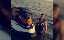 Nicholas Vandevelde posing with his Seadoo. The same one he used to save the rider who went missing over the weekend. July 9, 2018. (Photo submitted by Nicholas Vandervelde)