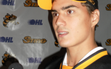 Nail Yakupov speaks to reporters after being drafted by the Sarnia Sting in 2010. (Photo by BlackburnNews)