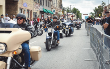 Motorcyclists arrive at Lucan Baconfest. Photo from www.lucanbaconfest.ca.