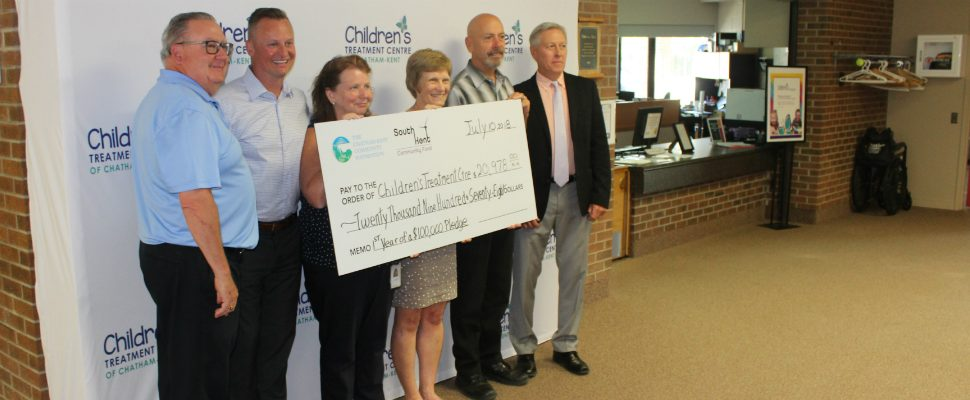 Representatives from Community Foundation present their donation to the Children's Treatment Centre at a ceremony Tuesday. July 10, 2018. (Photo by Greg Higgins)