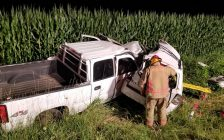 A pickup truck and SUV sit in a ditch after a crash on McDowell Rd. West in North Walsingham, July 25, 2018. Photo courtesy of Norfolk OPP.
