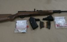 A semi-automatic rifle, ammunition and drugs seized from a Pine Lawn Ave. home, July 13, 2018. Photo courtesy of London police.