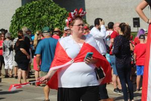 A woman dressed for Canada Day celebrations in Leamington, July 1, 2018 (Photo by Adelle Loiselle)