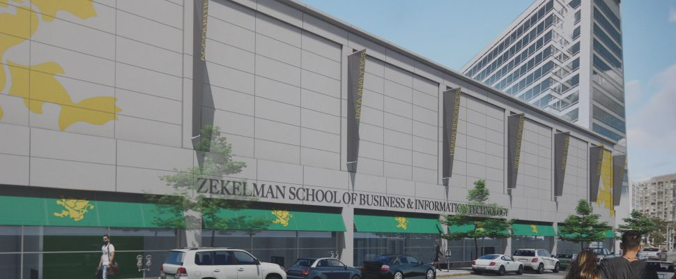 Artist rendering of the outside of the Zekelman School of Business and Information Technology, August 8, 2018 (Photo by Adelle Loiselle)