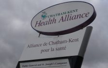 The main entrance sign at the Chatham-Kent Health Alliance. (File photo by Jake Kislinsky)