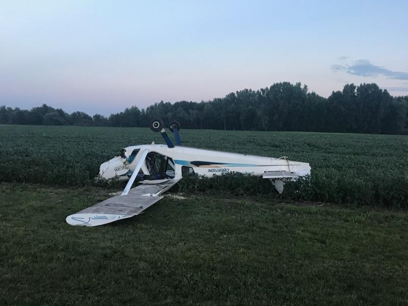 An investigation is ongoing after a small plane crashed into a field in Norfolk County, August 3, 2018. (Photo courtesy of the OPP via Twitter)