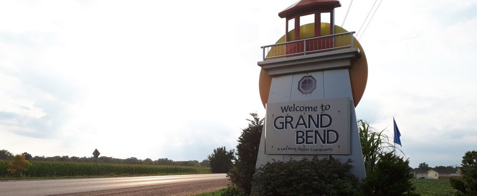 The Welcome to Grand Bend sign on Grand Bend Line. August 9, 2018. (Photo by Colin Gowdy, BlackburnNews)