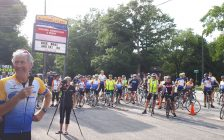 Granfondo Chairman Ken MacAlpine speaking to a crowd of cyclists at Blackwell Plaza. August 1, 2018. (Photo by Colin Gowdy, BlackburnNews)