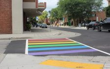 Newly installed rainbow crosswalk in Chatham at the intersection of King and Forsyth St. August 8, 2018. Photo by Sarah Cowan Blackburn News Chatham-Kent).