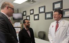 Left to right, Mayor Drew Dilkens, Dr. Ashraf Farag, and Dr. Wadea Tarhuni. Photo by Alyssa Leonard