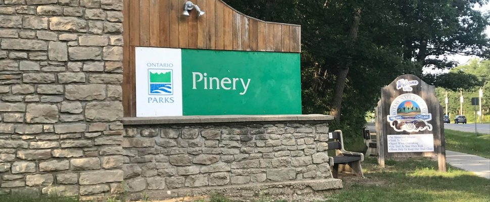 Pinery Provincial Park entrance in Grand Bend. August 7, 2018. (Photo by Colin Gowdy, BlackburnNews)