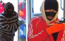 Surveillance images of two suspects wanted in relation to the RBC bank robbery in Embro, March 29, 2018. Photo courtesy of OPP.