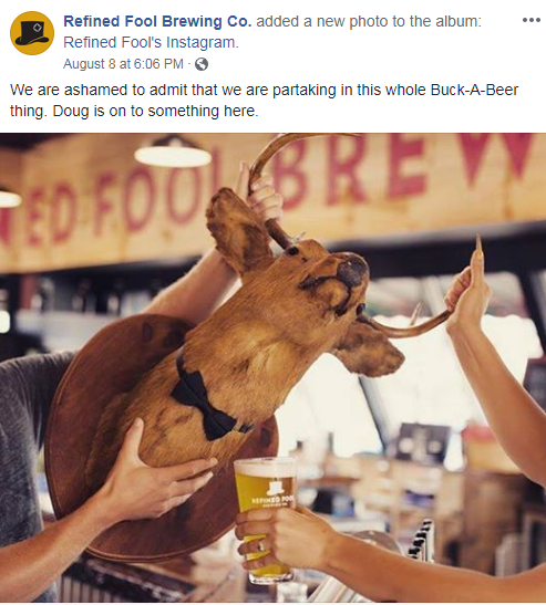 Sarnia's Refined Fool Brewing Co. creates buzz on social media with mock participation in Doug Ford's buck-a-beer challenge. Photo via. Refined Fool Brewing Co. Facebook.