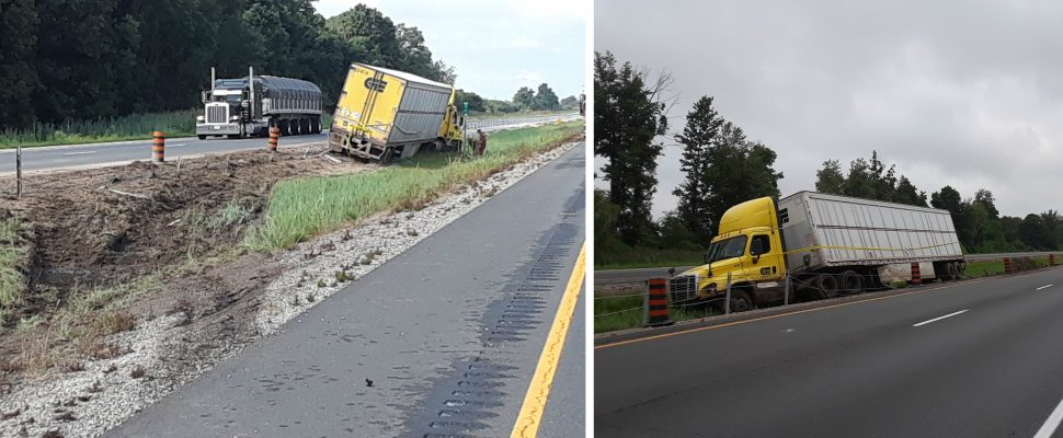 Photos of the scene after a crash on the Hwy. 401 near Kenesserie Rd. in Chatham-Kent. (Photos courtesy of Chatham-Kent OPP)