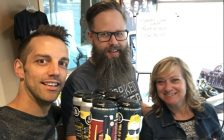 Dave Reed (centre) of Forked River Brewing Company with Classic Rock 98.1 hosts Blair Henatzyen and Mindy Williamson.