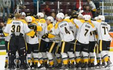 The Sarnia Sting celebrate after captain McGregor's OT winner over the Hounds Sept. 29, 2018 (photo courtesy of Metcalfe Photograph)