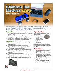Information on battery safety. (Photo from the Sarnia Fire and Rescue facebook page)