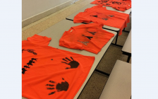 Orange shirts decorated by students at Great Lakes Secondary School in Sarnia. September 22, 2018. (Photo from the GLSS facebook page)