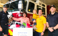 """Sarnia Fire Rescue & The Inn of the Good Shepherd kicking off the """"Sock it to Us"""" sock drive. September 25, 2018. (Photo from the Sarnia Fire Rescue facebook page)"""