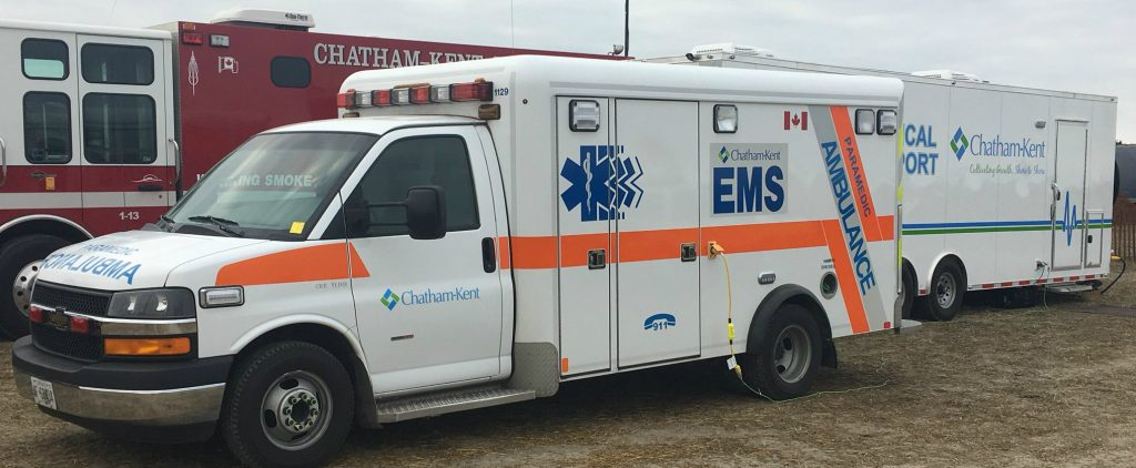 A Chatham-Kent EMS vehicle sits parked at the site of the International Plowing Match in Pain Court. September 19, 2018. (Photo by Angelica Haggert)