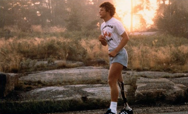 A photo of Terry Fox during his Marathon of Hope courtesy of TerryFox.org.