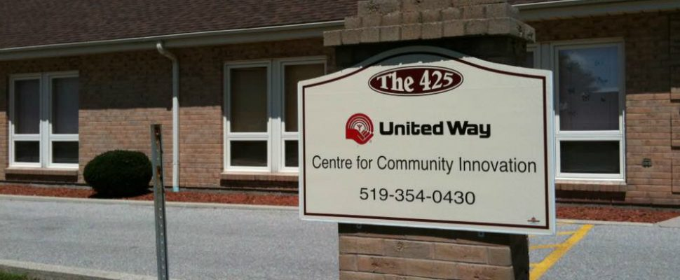 Sign outside of Untied Way building in Chatham. September 26, 2018. (Photo courtesy of United Way of Chatham-Kent Facebook page)