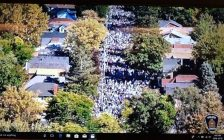 """Drone footage shows how packed Broughdale Avenue became during """"fake homecoming"""" on September 29, 2018. (Photo of London police footage by Miranda Chant, Blackburn News)"""