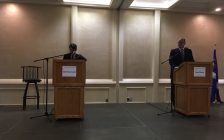 The two top contenders for the mayor's seat in Windsor faced off at the Windsor-Essex Regional Chamber of Commerce debate at the Fogolar Furlan Club. Oct 10, 2018. (Photo by Paul Pedro)