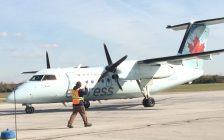 A Dash 8 at Chris Hadfield Airport Oct. 2018 (BlackburnNews.com photo by Dave Dentinger)