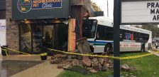 An LTC bus crashed into a pet clinic at the corner of Oxford St. and Waterloo St. October 31, 2018. Photo by Scott Kitching.