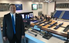 Lambton College Vice President of Student Success & Campus Services Rob Kardas stands in the new media booth in the Athletics & Fitness Complex. October 18, 2018 Photo by Melanie Irwin