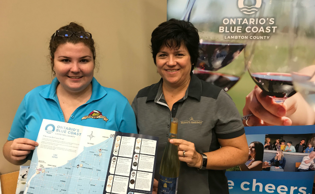 Carly (left) and Chris Bryans from Munro Honey & Meadery in Alvinston show off a new map showcasing craft beer, wine, mead and hard cider producers in Lambton County. October 11, 2018 Photo by Melanie Irwin