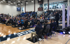 Dignitaries gather to open Lambton College's $18.2 million Athletics and Fitness Complex. October 18, 2018 Photo by Melanie Irwin