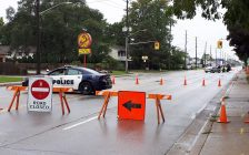Sarnia Police Service on Exmouth St. near Trillium Park. October 1, 2018. (Photo by Colin Gowdy, BlackburnNews)