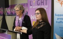 LAWC Executive Director Megan Walker and abuse survivor Shainee Chalk at the launch of the 2018 Shine the Light campaign, October 19, 2018. (Photo by Miranda Chant, Blackburn News)
